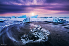 ice cold beauty (Alexander Lauterbach Photography) Tags: travel seascape ice beach water clouds sunrise landscape volcano iceland waves sony lagoon iceberg jkulsrln