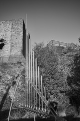 metal and stone (scottprice16) Tags: uk winter england sun reflection metal stone architecture blackwhite pipes structure lancashire norman castlepark clitheroe clitheroecastle fujixpro1 18mmf2
