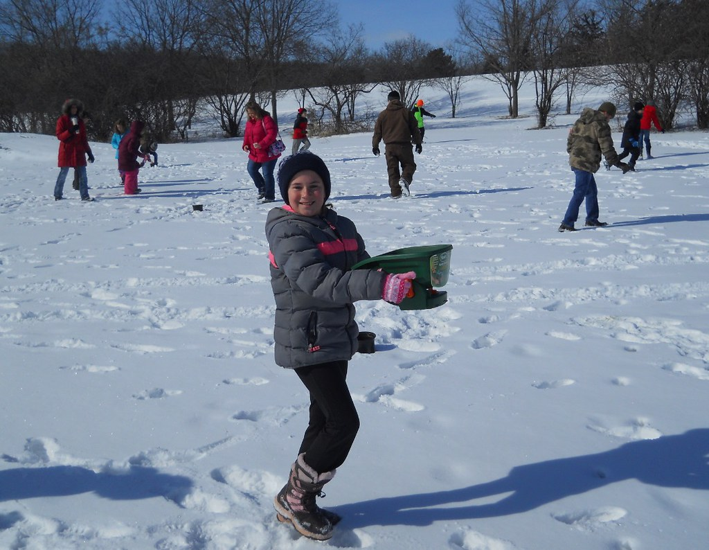 "d13eb2610bb5 Bertsch said ""the fourth graders had a fun time spreading the seed and  working it into the snow""."