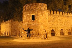 Josh jumping (olive witch) Tags: park portrait india night outdoors ruins delhi january portfolio sodium 2016 jan16 abeerhoque