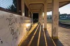 Puerto Varas (Alvaro Lovazzano) Tags: chile puertovaras atardecer estaciondetren graffiti tramonto sunset estación estacióndetren abandono pasillo sombra ombra shadows rayado pilar pilares columna canon t5i 700d cile cili