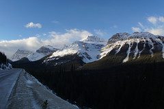 Icefields Parkway (ryan.kole32) Tags: road travel trees sun snow canada nature clouds forest landscape outdoors nationalpark highway jasper sony bluesky alberta banff rockymountains jaspernationalpark banffnationalpark icefieldsparkway canadianrockies jasperalberta banffalberta beautyinnature sonya77