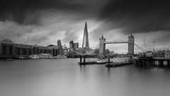 Double Indemnity (twenty8solo) Tags: cityscape wapping thames 10stop shard monochrome towerbridge blackandwhite longexposure london vulturelabs
