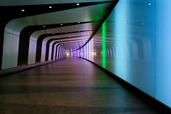 St Pancras (tanyalinskey) Tags: london lines station lights colours curves tunnel stpancras