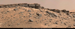 Finely layered outcrop - sol 1272 (thomas_appere) Tags: mars outcrop mountain montagne rocks rover crater curiosity roches msl cratre gypse affleurement