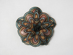 Pine green and light brown silk flower hair pin (simutes) Tags: brown flower beige snap hairpin silkpainting silkflower brownflower snappin pinegreen
