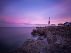 Portland Bill Pink Sunset (tee19810) Tags: ocean uk pink sunset sea england sky lighthouse portland bill britain coastal fujifilm weymouth xpro2