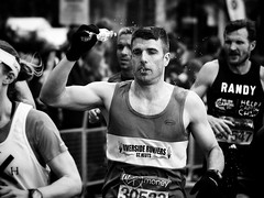 Running Water (Feldore) Tags: england man london water race droplets bottle marathon drinking olympus panasonic tired splash runner mchugh splashing em1 35100mm feldore