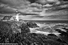 Beacon (Ry Meehan) Tags: bw usa lighthouse seascape texture contrast portland landscape nikon maine portlandheadlight d800e