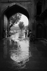 Red Fort Rain (Peter L Barker) Tags: blackandwhite bw india monochrome rain agra redfort agraredfort