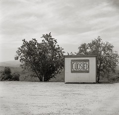 Closed (efo) Tags: california bw film sign closed hasselblad roadside fruitstand