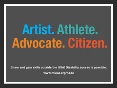 Artist - Athlete - Advocate - Citizen - Share and gain skills outside the USA - Disability access is possible - www.miusa.org (Mobility International USA) Tags: infographics experiential