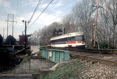 SEPTA NHSL Apr90 4 (jsmatlak) Tags: philadelphia electric train railway bullet interurban septa norristown brill pw