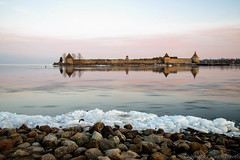 Fortress Oreshek on sunset 2 (pilgrim.ru) Tags: pink blue sunset lake reflection ice river landscape ancient russia stones landmark russian fortress neva petrokrepost ladoga icedrift leningradregion shlisselburg oreshek