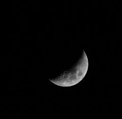 From Crescent To Quarter  *Explore* (Catskills Photography) Tags: sky blackandwhite moon night astronomy crescentmoon odc waxingcrescent gettothepoint firstcrescentmoon canon70300mmllens