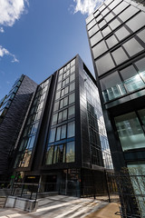 Quarter Mile Development-9 (Philip Gillespie) Tags: street city blue windows sky sun white reflection tower glass up skyline architecture clouds contrast work buildings outside photography scotland office spring edinburgh cityscape angle outdoor wide meadows april series block leading 2016 sequent