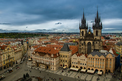 Prague - Old Town Square (davebugyi) Tags: street old city travel windows eye tower tourism rooftop monument birds architecture clouds buildings square temple town cityscape view czech prague capital gothic stormy rainy historical
