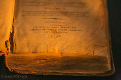220 Years Ago (Gabriel FW Koch) Tags: old orange black macro yellow closeup canon dark eos book scotland ancient edinburgh dof bokeh indoor font candlelit dated 1796 linenpages