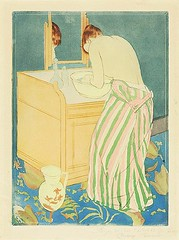 Woman Bathing,  drypoint and aquatint, 18901891 // by Mary Cassatt,  National Gallery of Art, Washington (mike catalonian) Tags: portrait female graphicart us fulllength drypoint 1890s 1891 marycassatt intaglioptinting