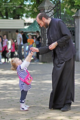 Teaching the Teacher :) (Tanjica Perovic) Tags: childandpriest orthodox people connection communication touching beautiful love smile serbia serbian pirotserbia christian pravoslavie православље andalittlechildshallleadthem innocence