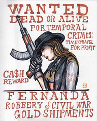 Fernanda-WANTED-4-19-16-100 (artistbyday) Tags: profile western wanted timetravel cowgirl cowboyhat wildwest fernanda ak47 outlaw lifedrawing wantedposter causality drsketchys artmarkers temporalcrimes