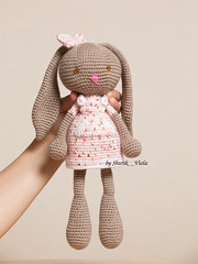 Bunny (Shurik_Viola) Tags: pink brown white rabbit bunny wool nature animal rose children cherry toy zoo beige child dress natural handmade crochet craft plush yarn plushies creation handcrafted amigurumi marron enfant blanc dressed handwork cerise jouet artisan lapin crafting cuddlytoy objets peluche laine artisanat clairage naturalcolors faune forkids cration personnages faitmain mammifres faitmaison lumireartificielle dressedtoy matrieldedivertissement amigouroumi shurikviola