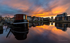 The Shore on fire (blue fin art- 2 Million Views. Thank You!) Tags: sunset reflection edinburgh leith theshore