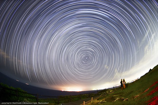 20150911 Sky at Night (Cape Manzamo Okinawa) Startrails + meteor + Iridium Flares Camera : Nikon D800E Lens : Nikon 16mm f/2.8 ISO800  Exposure Time : 60s x 172frames