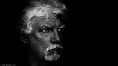 Experiments in Black and White (Neil. Moralee) Tags: old uk wild portrait bw white man black guy monochrome face blackbackground contrast self dark hair beard mono nikon background experiment neil moustache whiskers craggy devon mature wicked strong demonic wrinkles trial rugged bloke selfy selfie hemyock moralee d7000 neilmoralee