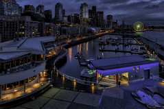 Bell Harbor Marina and Seattle Waterfront at Dusk - The Big Picture (Wambo Jambo) Tags: seattle nightphotography seattlewaterfront thebigwheel bellharbormarina bruceikenberry aurorahdr