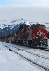 Winter`s Train (chrisroach) Tags: winter snow mountains train banff locomotive rockymountains canadianpacific cp banffnationalpark canadianrockies leadinglines