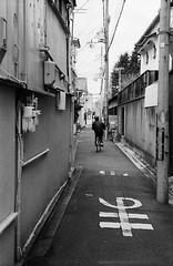 (Ma) (Purple Field) Tags: street bw film monochrome bicycle japan analog zeiss 35mm walking 50mm alley kyoto fuji iso400 rangefinder contax ii carl   neopan ikon   presto  sonnar f20            stphotographia    ii