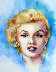 Marilyn, by Vnia F. - DSC02222 (Dona Mincia) Tags: portrait woman art face watercolor painting paper arte retrato marilynmonroe mulher sensual study blonde pintura rosto aquarela sexsymbol bomshell