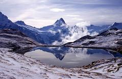 Grindelwald, de Bachalpsee, een gletsjermeer, Zwitserland 1996 (wally nelemans) Tags: lake meer suisse 1996 grindelwald helvetia switserland zwitserland bachalpsee gletsjermeer