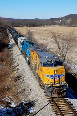 UP 8265 Route 164 Overpass Leesville W&LE 214 2/13/15 (Poker2662) Tags: up overpass route 164 214 leesville 8265 21315 wle