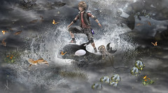 A little boy's Wild Fantasy World (_Adra_ * Taking Clients*) Tags: wild fish water playground photoshop children toy waves butterflies dreaming fantasy reality whale smb zisp