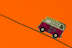 The Road To Nowhere (DoctorTimbo) Tags: road pink orange flower macro vw volkswagen sticker neon driving bright vibrant horizon nowhere line colourful minimalism sparkly glittery luminous roadtonowhere vwcamper macromonday vibrantminimalism