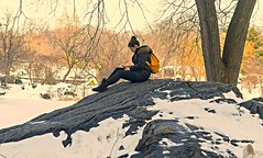 Candid Of Young Woman Relaxing In Central Park After Recent Snowstorm (nrhodesphotos(the_eye_of_the_moment)) Tags: nyc winter portrait woman snow tree girl rock season pond artistic outdoor centralpark manhattan candid perspective relaxing peaceful daytime prettygirl plantlife texting solace wwwflickrcomphotostheeyeofthemoment theeyeofthemoment21gmailcom dsc03187160 blizzard2016