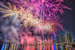 Australia Day 2016 firework @docklands, #Melbourne (Qicong Lin(Kenta)) Tags: city color colour night nikon cityscape australia melbourne firework nightlight docklands australiaday cityview nignt d600 coloris