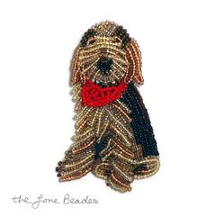Beaded Custom ITALIAN SPINONE keepsake dog pin pendant art jewelry (The Lone Beader) Tags: beads handmade jewelry etsy beading beaded akc beadwork petportrait seedbeads beadembroidery dogjewelry amazonhandmade