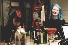 lucifers wife & smurfette (Niko Saarinen) Tags: blue friends red hair funny faces redhead fujifilm bluehead tuusula xe2
