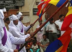 Perahera Flag Bearers (IMG_3400b) (Dennis Candy) Tags: street white man colour festival flag buddhism parade daytime srilanka ceylon procession serendipity hinduism kandy perahera flagbearer serendip esala seredib