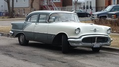 1956 Oldsmobile 88 4-Door Sedan, #1 (artistmac) Tags: chicago illinois gm general wheels il motors rocket southside 1956 88 v8 56 vacantlot 2tone oldsmobile grayandwhite generalmotors twotone eightyeight blackwall rocket88 wheelcovers 4doorsedan blackwalltires