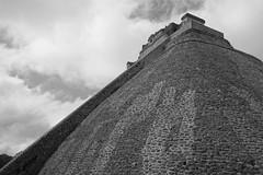 The great ascent (marktmcn) Tags: city blackandwhite archaeology mexico site ancient pyramid maya dwarf yucatan mayan archaeological dsc uxmal magician adivino rx100