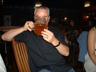 Alan hidden behind the biggest tankard of beer ever !