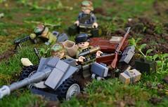 Preparing the Defenses (~J2J~) Tags: world war gun lego outdoor german ww2 defense pak emplacement antitank minifigure brickarms brickforge citizenbrick
