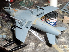1:72 Supermarine Swift FR.51, aircraft '902/2 Red' of 6th Squadron, Sultan of Muscat and Oman's Air Force, 1967 (Whif/Xtrakit conversion) - WiP (dizzyfugu) Tags: cold green ex dark war force conversion earth aviation air arab rebellion swift sultan oman muscat raf 172 sidewinder fictional whatif modellbau 902 supermarine dhofar aim9 whif mk51 dizzyfugu xtrakit