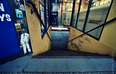 Skullcap Predator (a world seen through open eyes) Tags: street urban streetart pasteup wall graffiti wheatpaste graf brisbane urbanart mtn piece aerosol predator pastie skullcap ironlak brisbanegraffiti