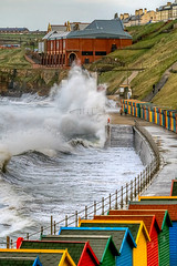 Whitby wave! (Bev Cappleman) Tags: beach waves wave seawall whitby beachhuts breakingwave