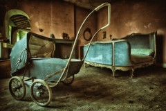 Nursery Rhymes (Szydlak Szk) Tags: door blue windows shadow baby house texture abandoned window sepia vintage dead toy toys death wooden bed bedroom chair peeling paint doors stroller decay ghost corridor indoor eerie ceiling spooky nostalgia forgotten villa mysterious horror nostalgic fotografia forsaken desolate derelict hdr deteriorated decayed decaying hdri obsolete forlorn defunct rosemarys zabawki reveries verfall vergiven zabawka verlassene abandonata abandonato szydlak